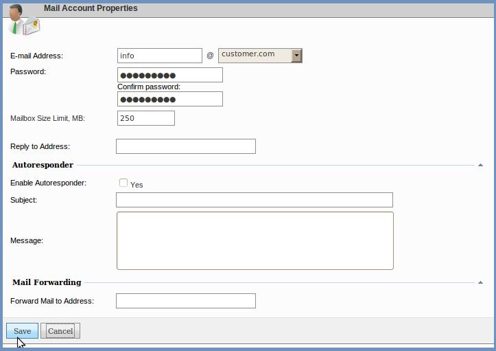 نحوه ساخت ایمیل در websitepanel