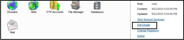 تغییر اطلاعات کاربری در websitepanel