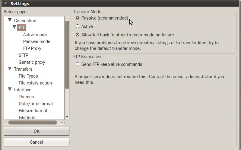 تنظیمات FTP در نرم افزار Filezilla