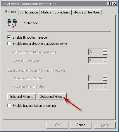 بلاک کردن پورت ها با استفاده از (RRAS)