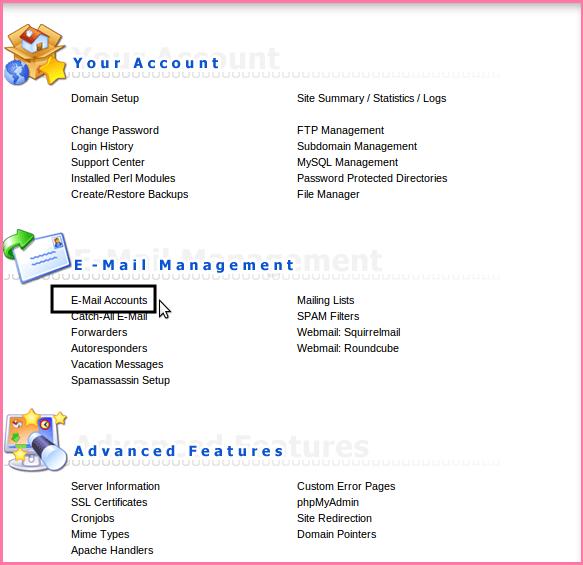 ایجاد حساب کاربری ایمیل در کنترل پنل Directadmin