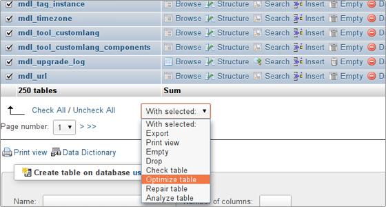 optimize کردن database (phpbb توسط phpMyAdmin